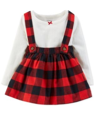 bfec35d2b Carter's Baby Girls 2-Pc. Bodysuit & Plaid Suspender Skirt Set - Red 24  months