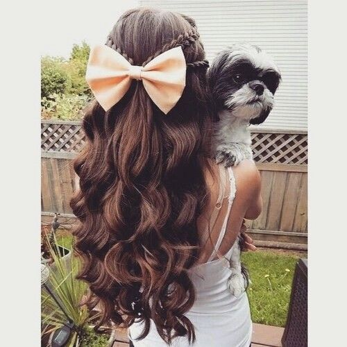 easy haircuts brown curly hair braids coral bow curled hair 3668