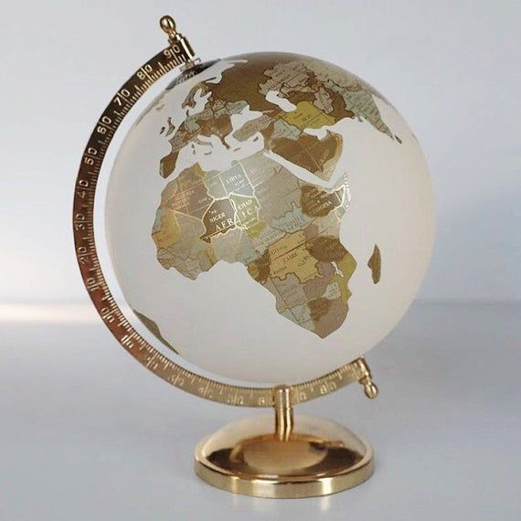 Gold & Neutral Globe – Painted Globe – Custom Hand