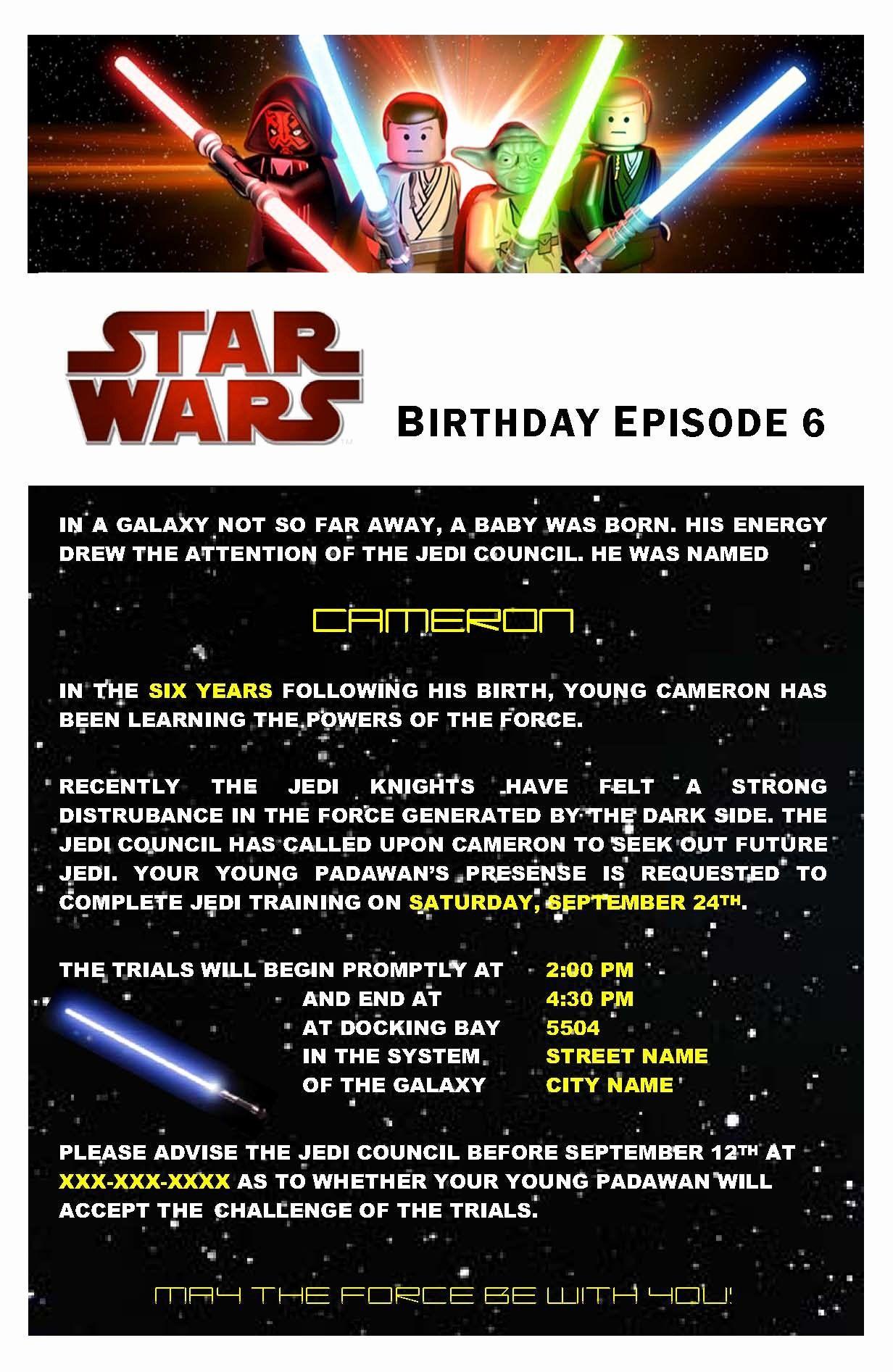 star wars birthday card template
