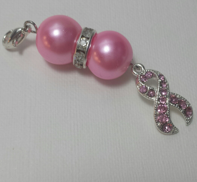 Pink ribbon zipper charm with pink pearls and rhinestone spacer
