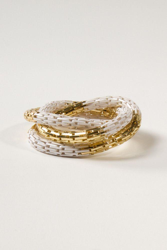 Multi Coil Bracelet in White