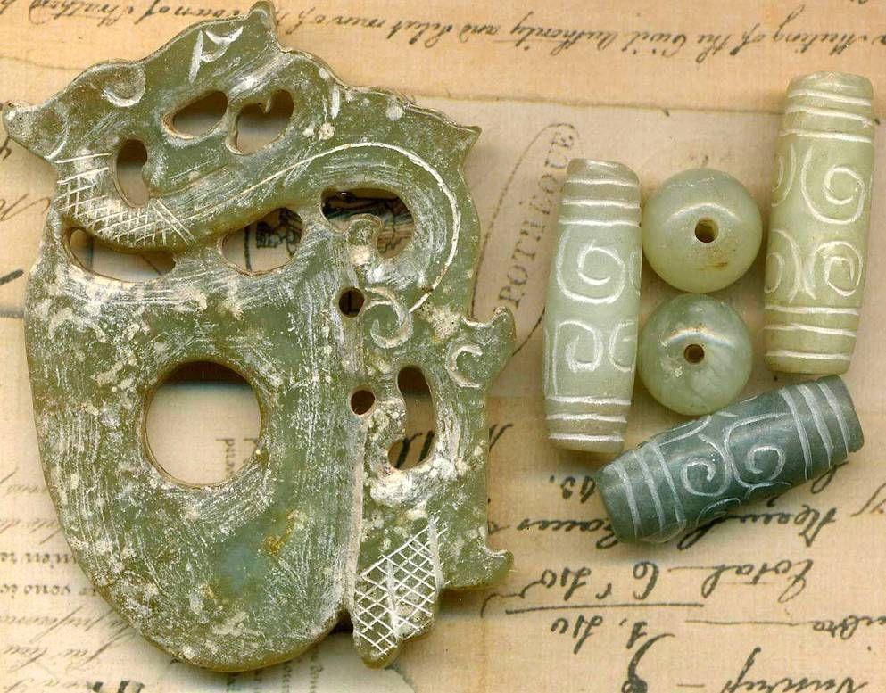 Old Asia Jade Dragon Pendant & Dragon Tube & Round Bead Set