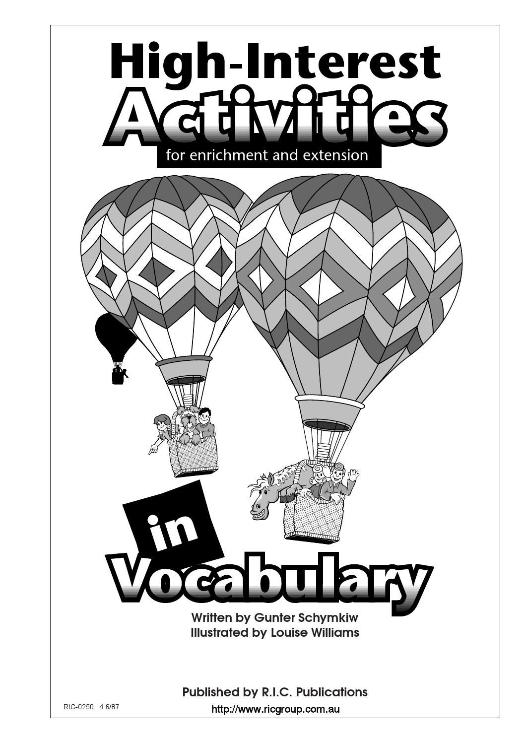 hight resolution of High-Interest Activities in Language and Vocabulary: Vocabulary   Rhyming  words