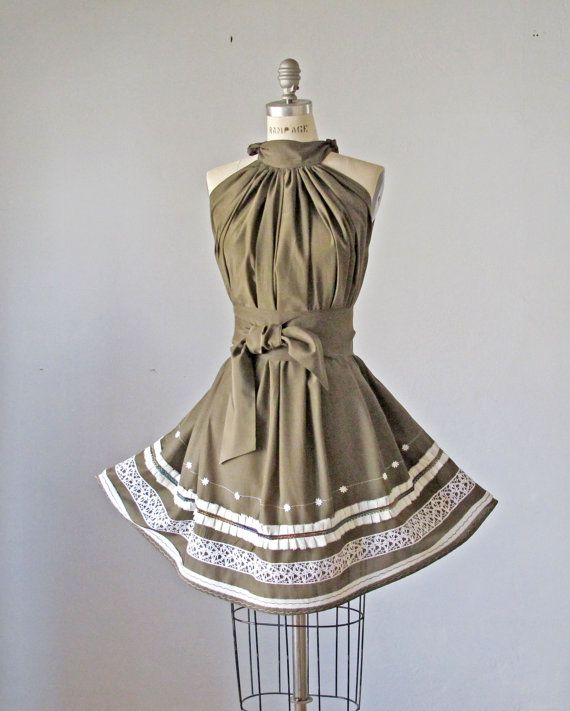 I absoutely love this dress!    Dress / Taupe / Vintage lace / Ruffles / by AtelierSignature, $59.99