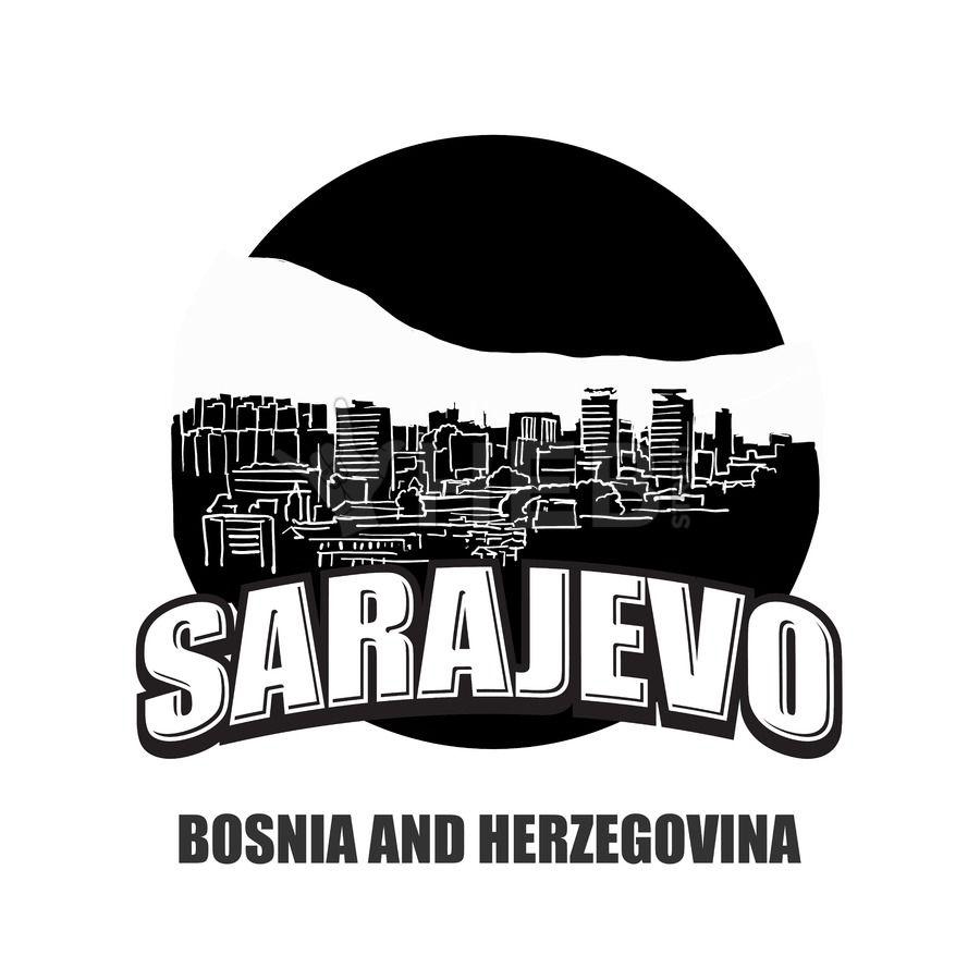 Sarajevo Black And White Logo Hebstreits Sketches Black And White Logos Black And White Vector Sketch