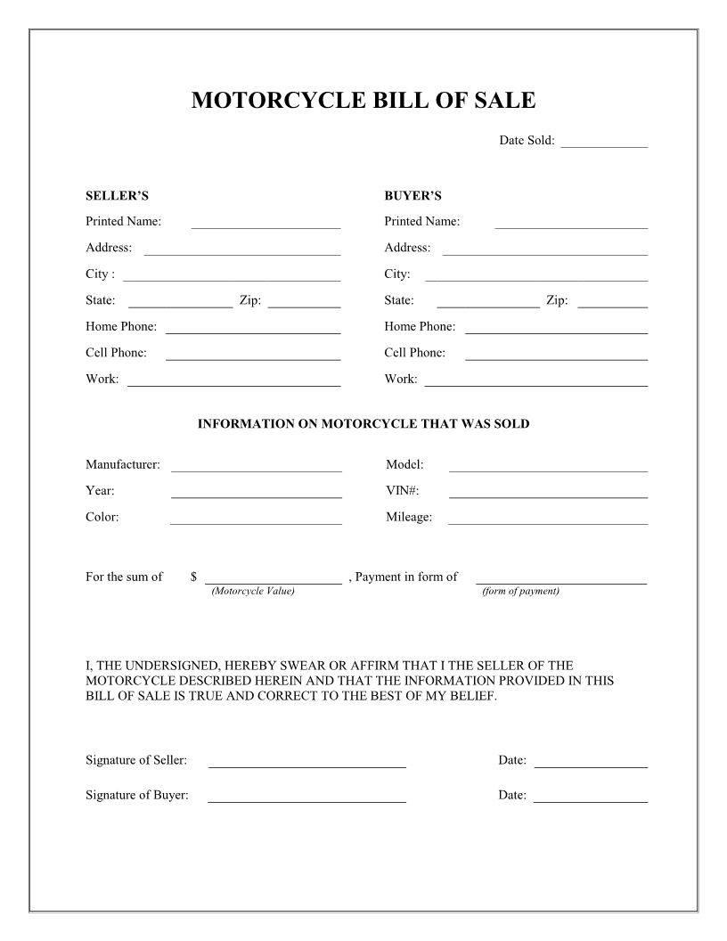 Free Printable Motorcycle Bill of Sale Form Template bill of – Template for a Bill of Sale