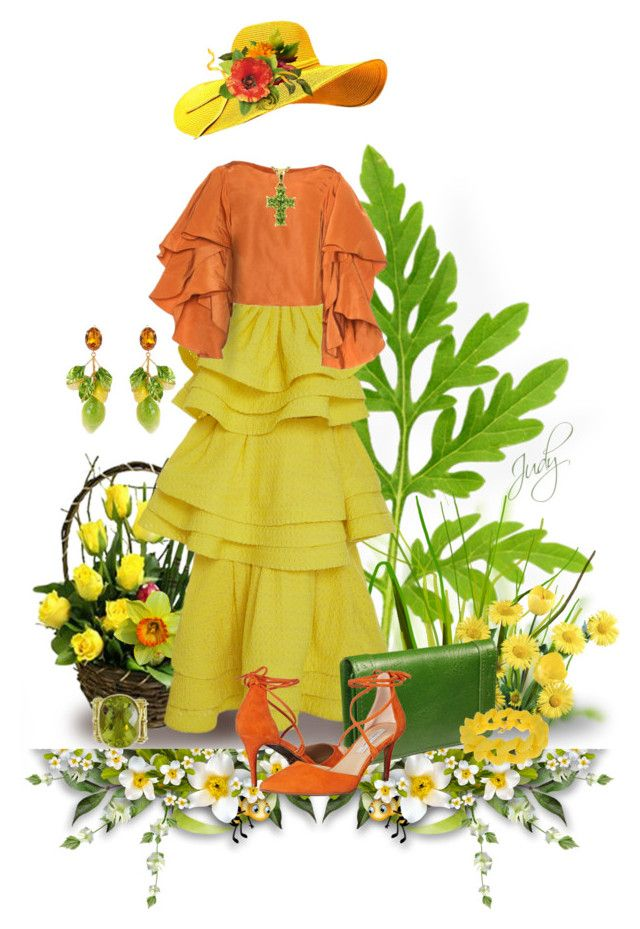 """""""Ruffles in Yellow & Orange"""" by judymjohnson ❤ liked on Polyvore featuring Rosie Assoulin, Castello, Kristin Cavallari, Marc by Marc Jacobs and Dolce&Gabbana"""