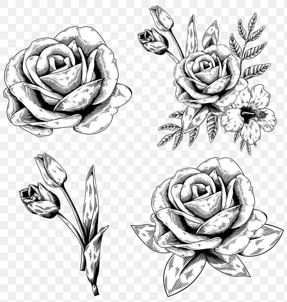 Black And White Flower Sticker Design Element Set Premium Image By Rawpixel Com Aum White Flower Png Black And White Flowers Flower Png Images