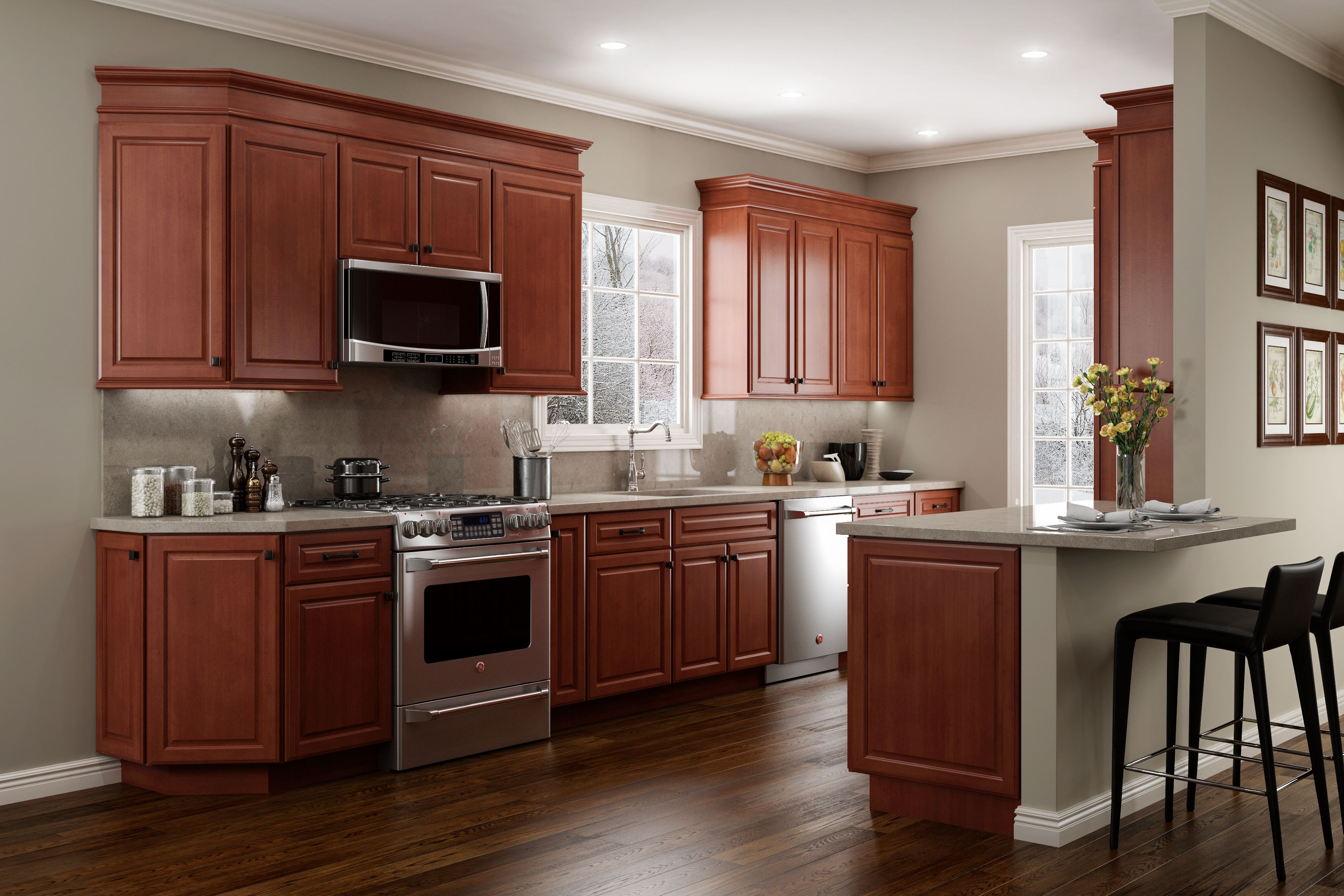 Jsi Cabinetry Quincy Cherry Kitchen Stained Kitchen Cabinets Cherry Wood Cabinets Cherry Wood Kitchen Cabinets