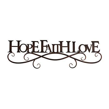 Black Hope Faith Love Metal Plaque In