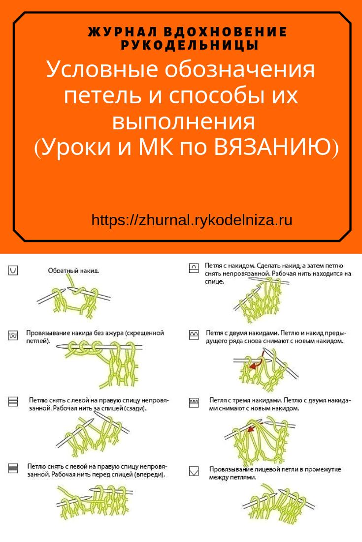 условные обозначения петель при вязании спицами как читать схемы