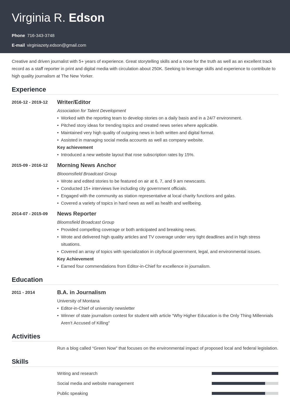 Journalism Resume Example Template Influx Resume Examples Job Resume Examples Resume