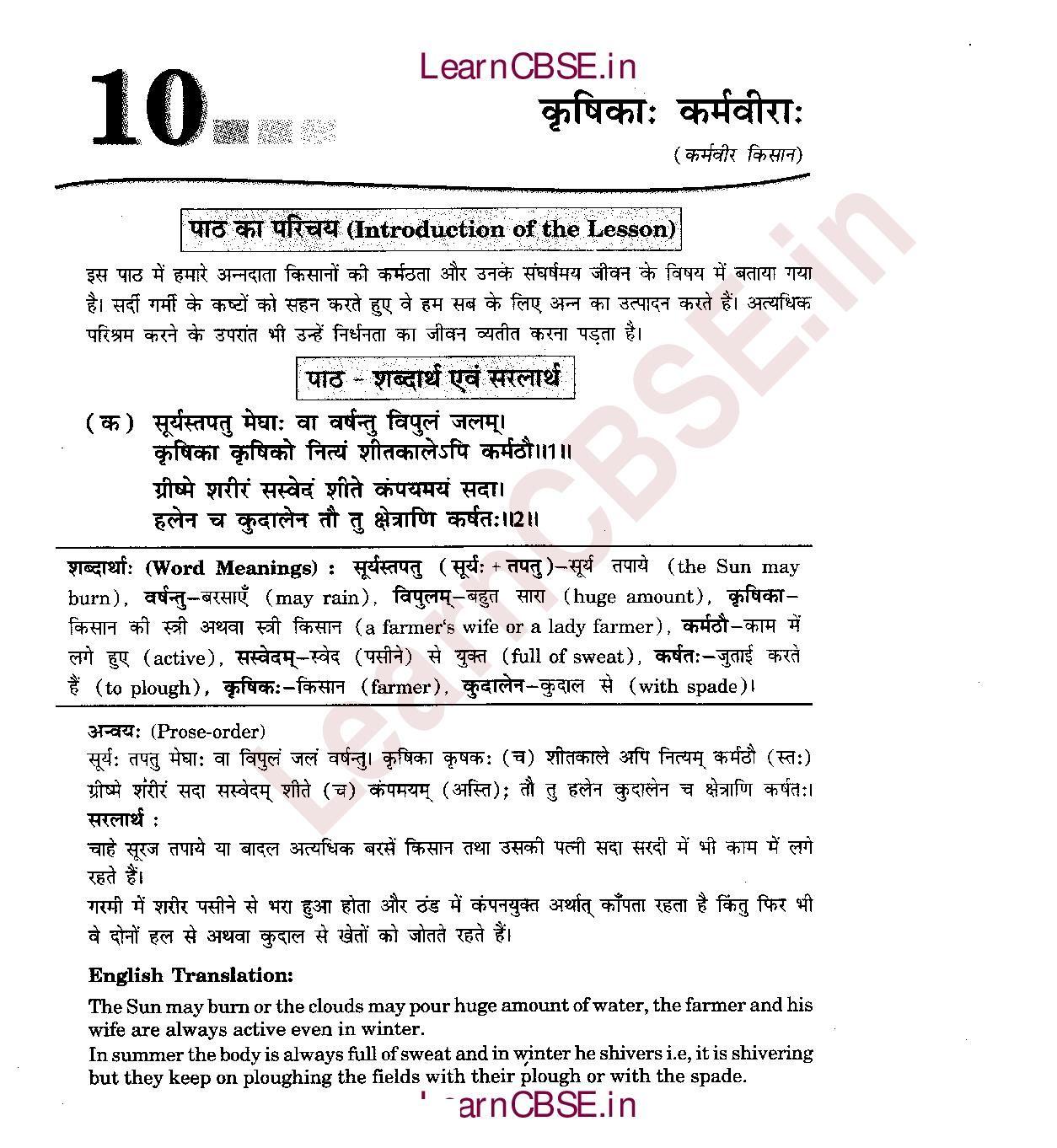 Ncert Solutions For Class 6th Sanskrit Chapter 10 Krsikaah