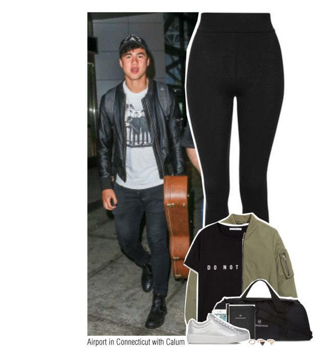 """""""Airport in Connecticut with Calum"""" by sixsensestyles ❤ liked on Polyvore featuring Topshop, MANGO, Victorinox Swiss Army, FOSSIL, Prada Sport and Forever 21"""