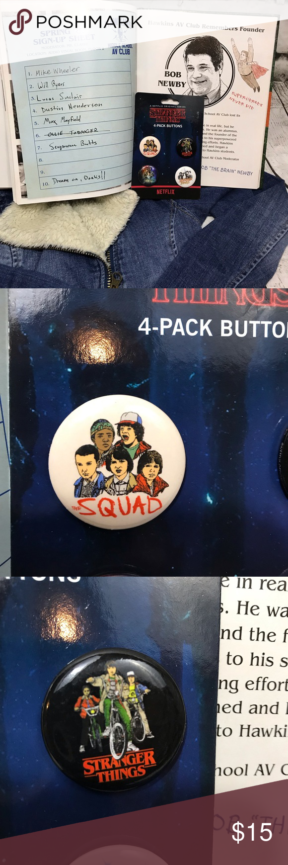 Stranger Things 4 Pack Buttons Raise Your Hand If You Can T Wait For Season 3 Set Of Four Buttons Acc Stranger Things Things To Sell Raise Your Hand