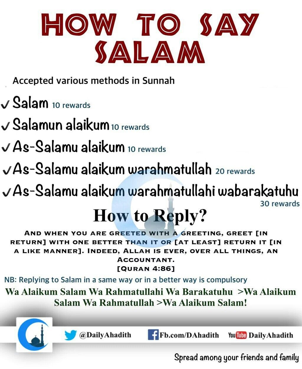 How to answer salaam aleikum