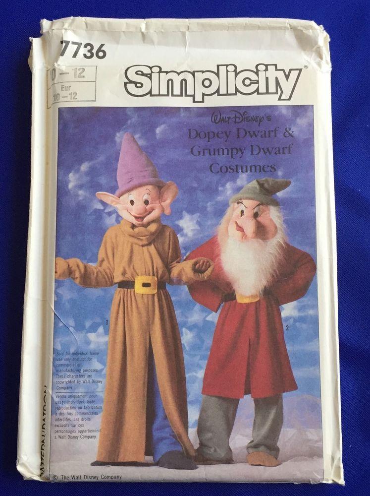 Disney Grumpy Dopey Costume Simplicity 7736 Pattern 7