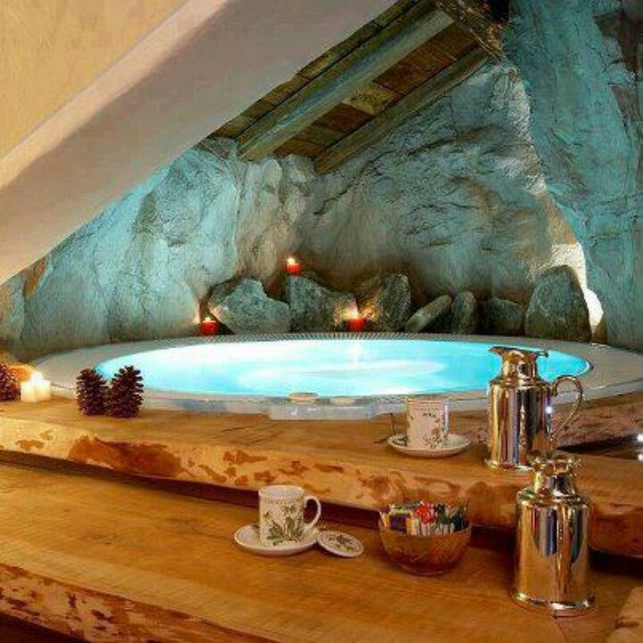 Jacuzzi In The Living Room: Bathroom Fireplace, Amazing