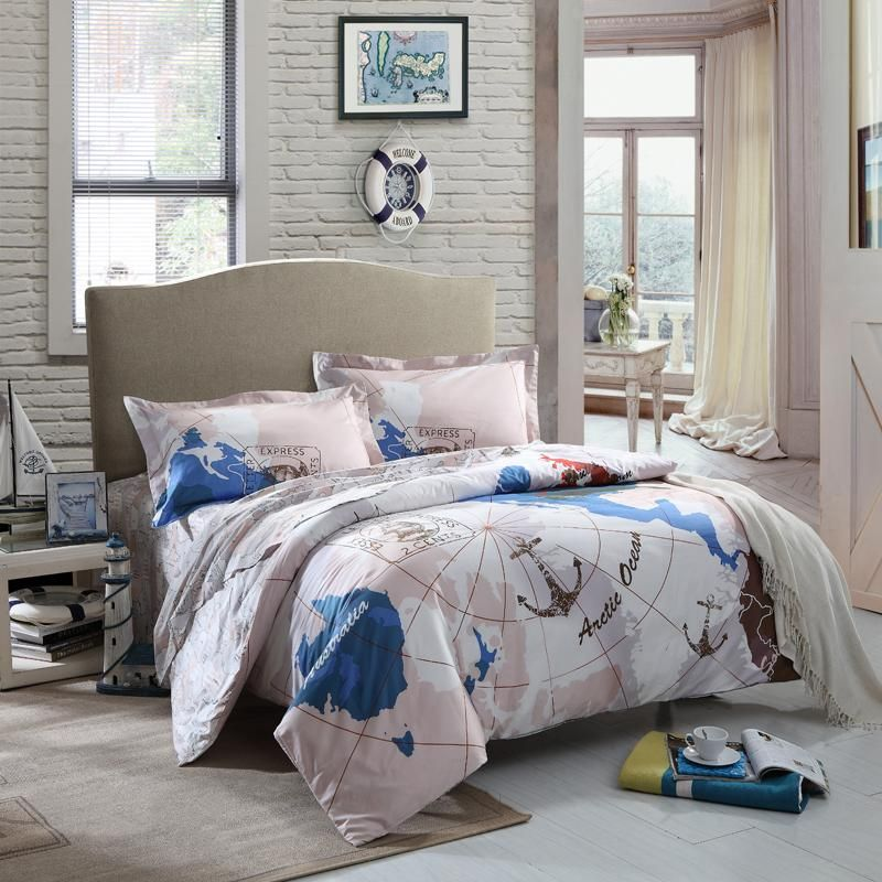Pink white and navy blue world map print kids nautical theme full pink white and navy blue world map print kids nautical theme full size bedding sets for gumiabroncs Gallery