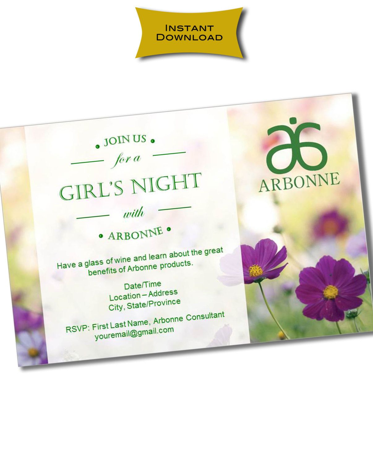INSTANT DOWNLOAD Printable Arbonne Party Invitation | Arbonne ideas ...