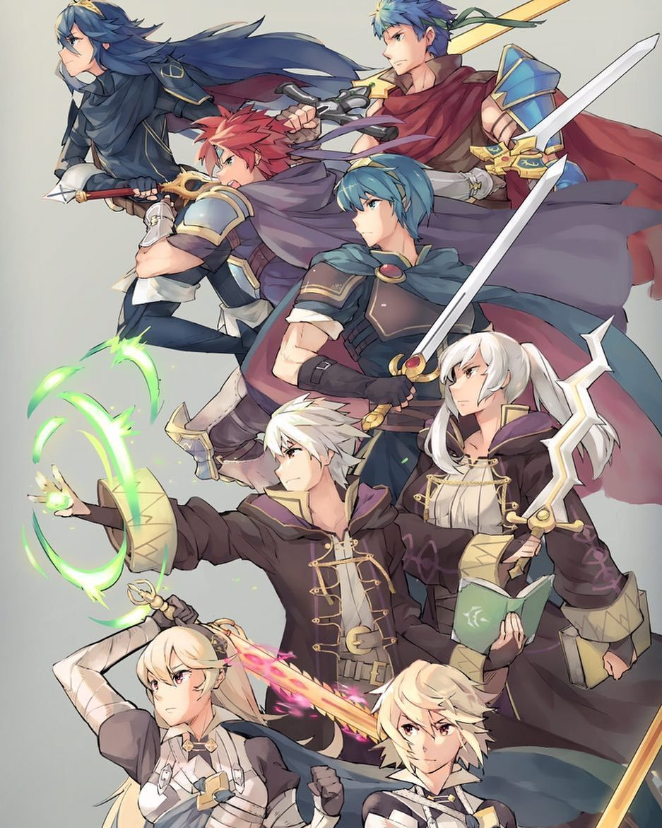 (Couldnt find the original artist let me know if you know!) I love this piece. What do you think of all the fire emblem reps? I think theyre all great except Lucina because shes almost the exact same as Marth even though I love FE: Awakening.           #firemblem #marth #lucina #roy #ike #robin #corrin #fireemblemawakening #fireemblemfates #fireemblemheroes #supersmashbros #supersmashbrosultimate #nintendo #nintendoswitch #e3