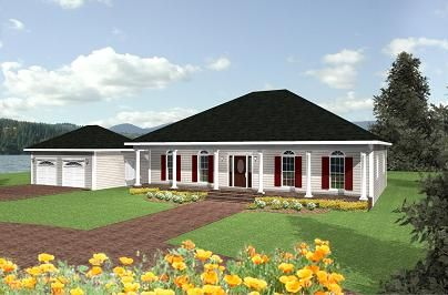 Dp 2055 Hip Roof And Porches Southern Style Bedrooms 3 Baths 2 Floors 1 Squa Southern House Plans Ranch Style House Plans Acadian Style Homes