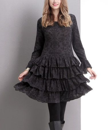 Another great find on #zulily! Charcoal Damask Tiered Ruffle Dress #zulilyfinds
