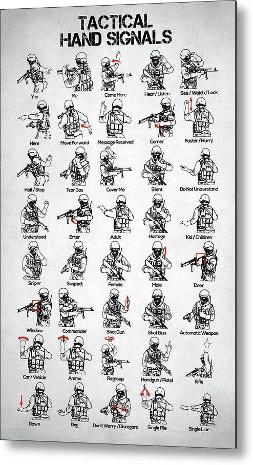 Tactical Hand Signals Metal Print by Zapista OU
