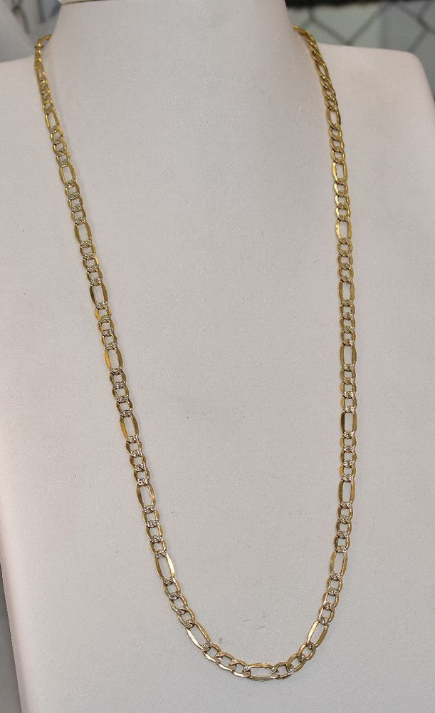dc39e1bf7b38e Details about Solid 10K Yellow Gold 5mm Figaro Link Chain Necklace ...