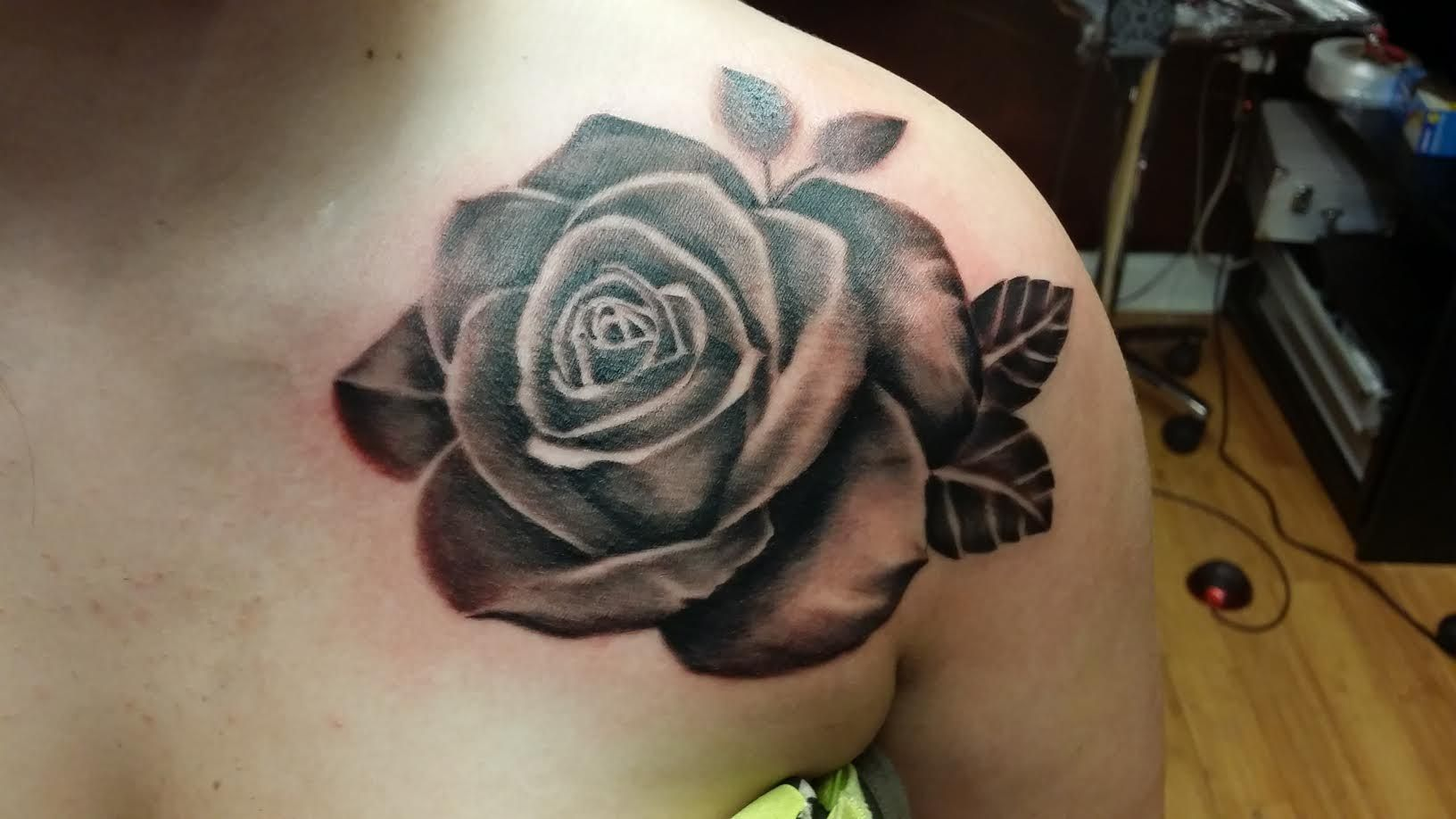 Beautiful Black And Grey Rose Tattoo Female Chest Shoulder Tattoos For Women Tattoos And Piercings Tattoos