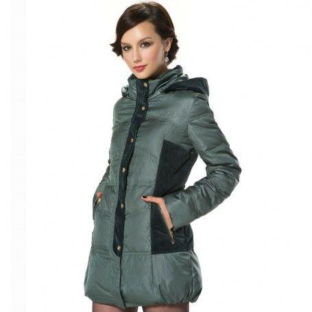 Women's Detachable Hood Zip-up Single-breasted Down Jacket