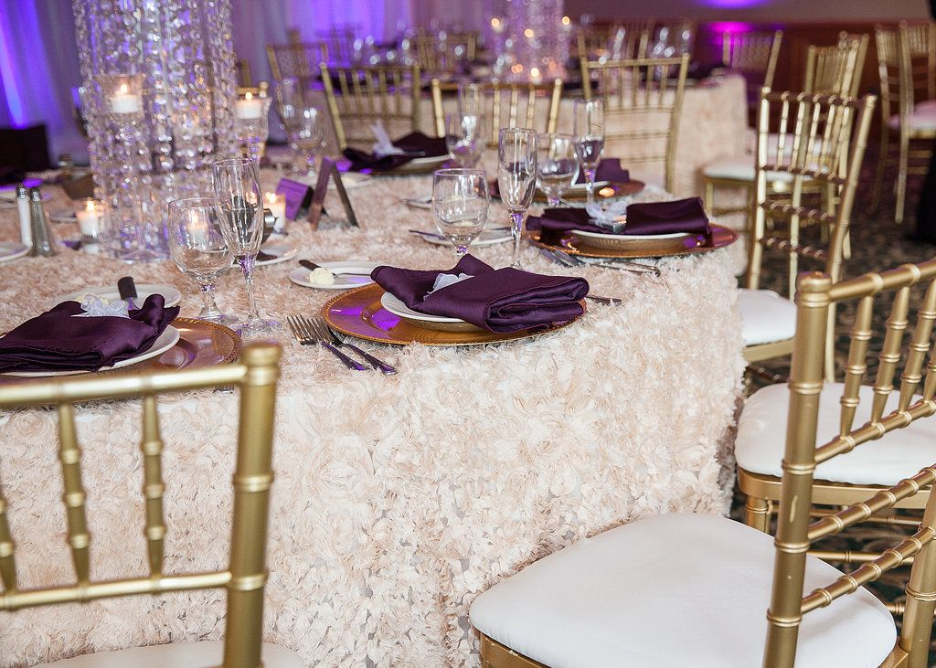 sequin table linen eggplant gold wedding event rentals decor by luxe event linen www. Black Bedroom Furniture Sets. Home Design Ideas