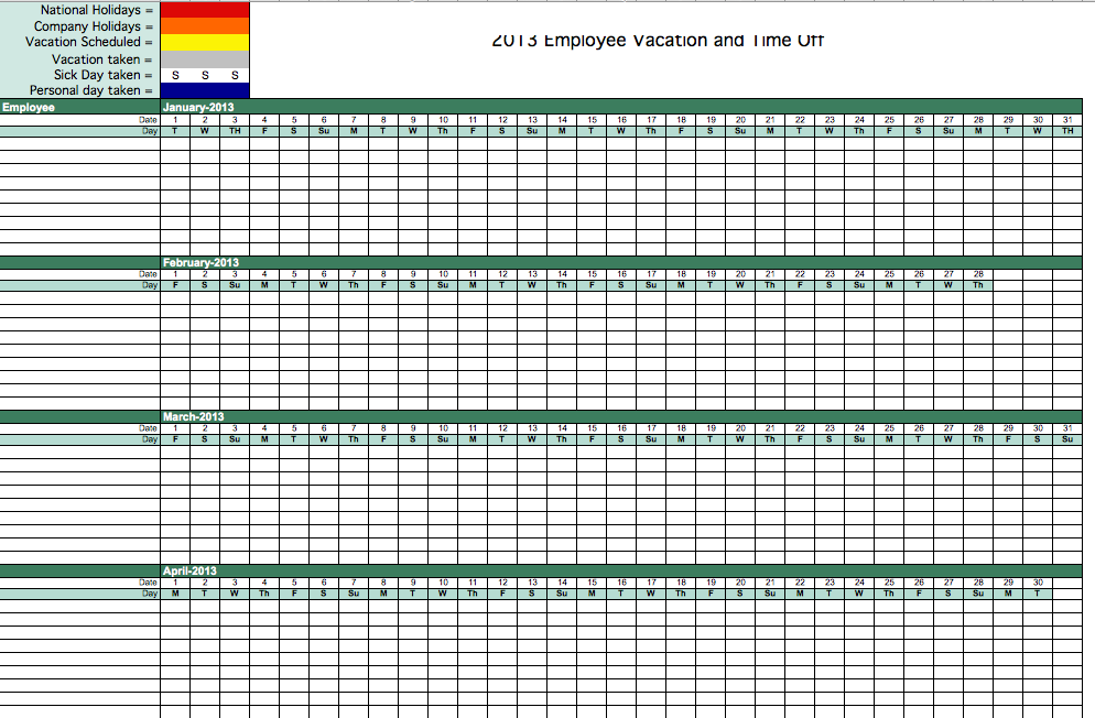 Employee Vacation Calendar Template   Calendar