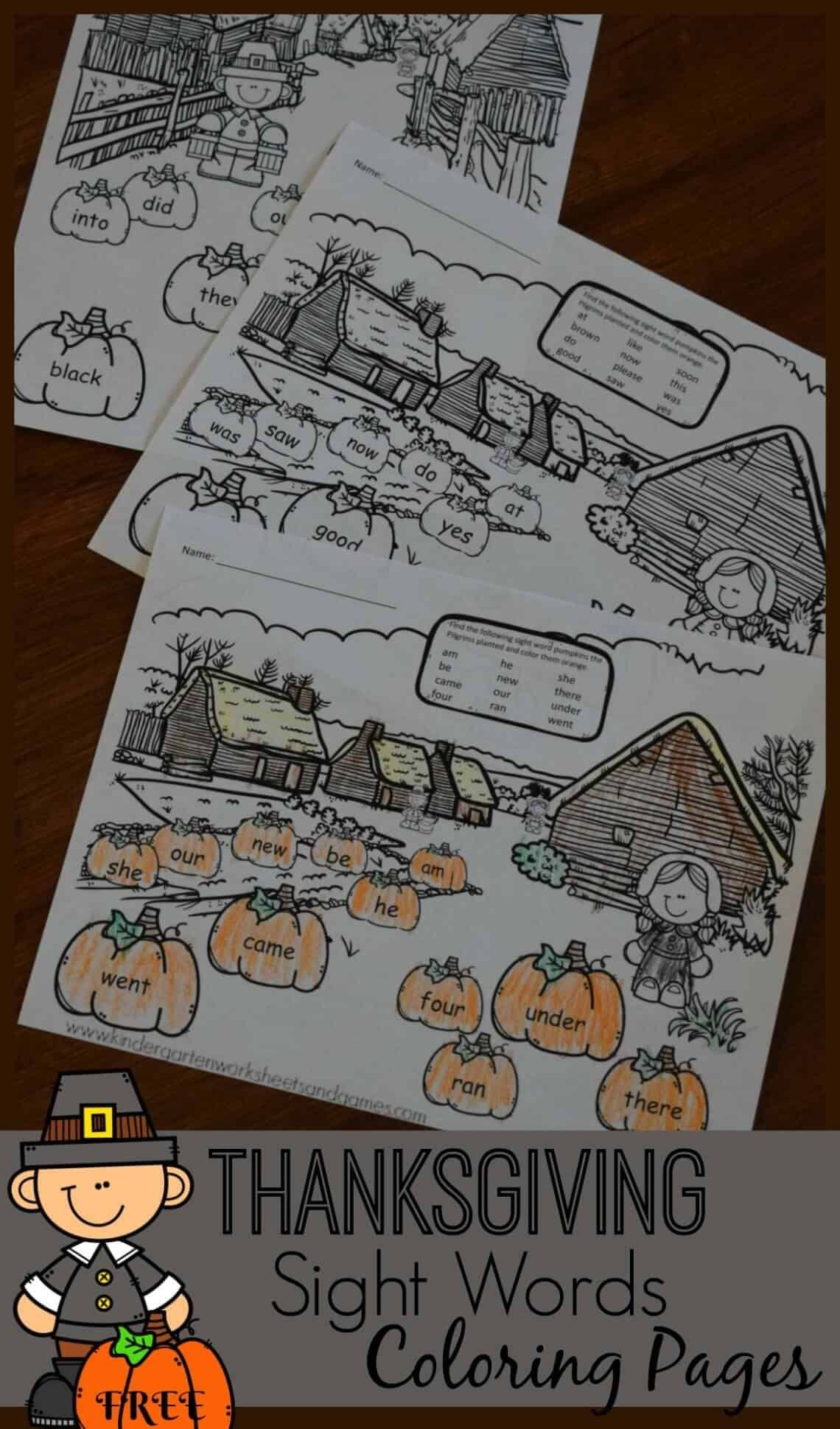 Free Thanksgiving Sight Words Coloring Pages