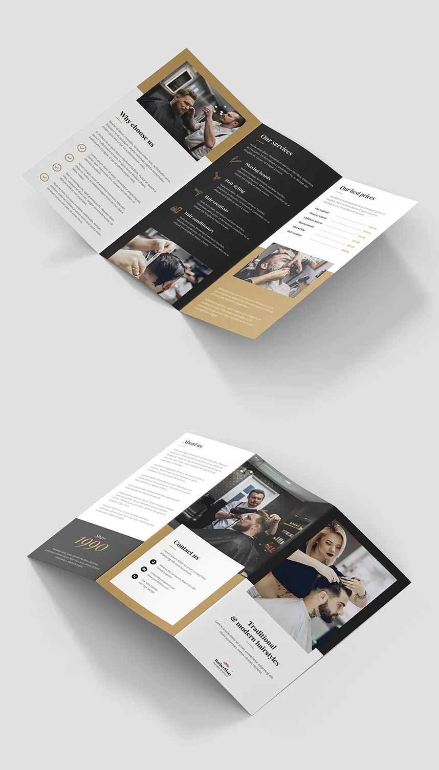 Barber Shop TriFold Brochure Template PSD Trifold