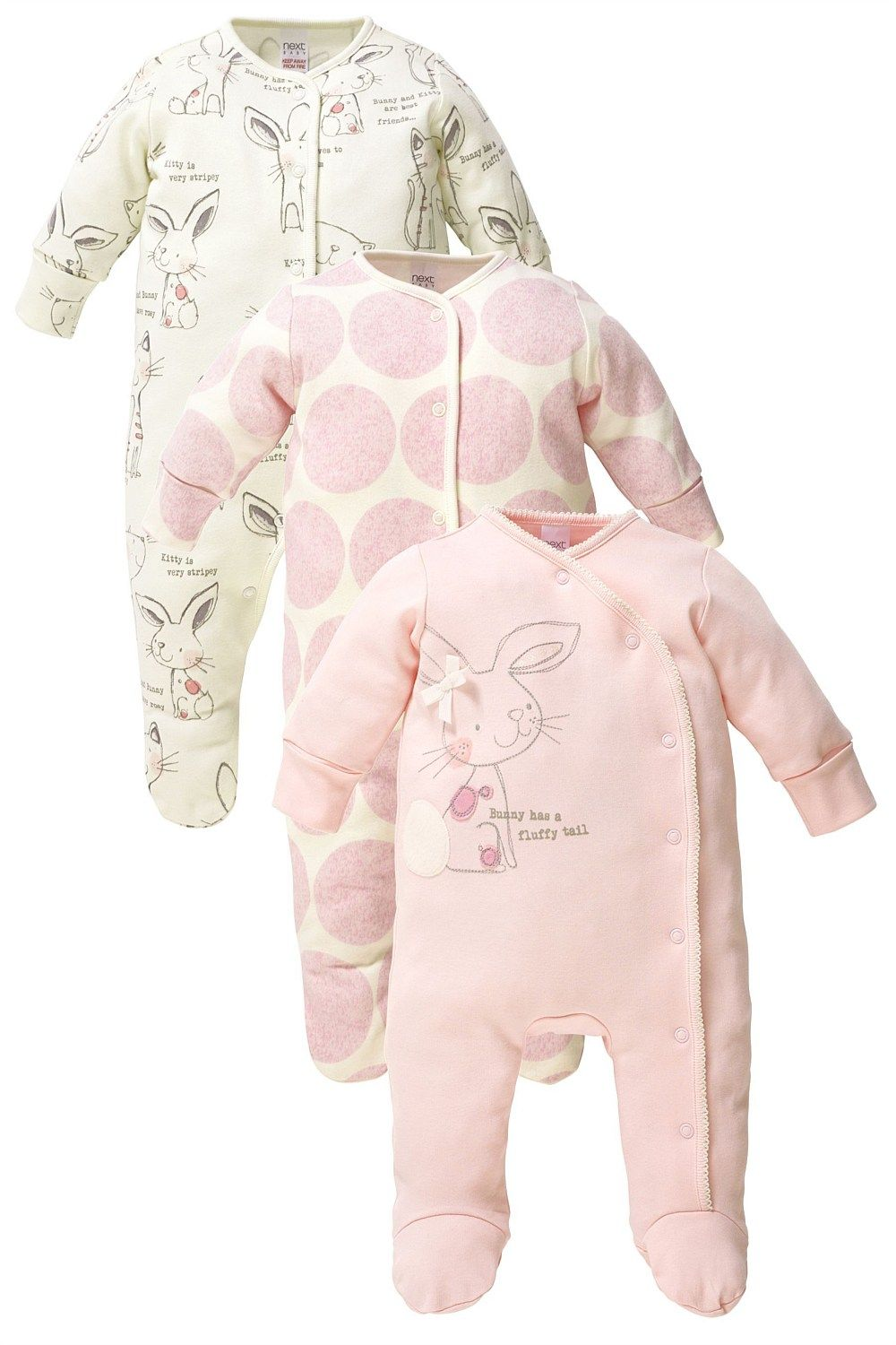 First Size 0-3 High Quality Girls' Clothing (0-24 Months) Set Of 2 Next Bunny Baby Grows Sleepsuits Girls