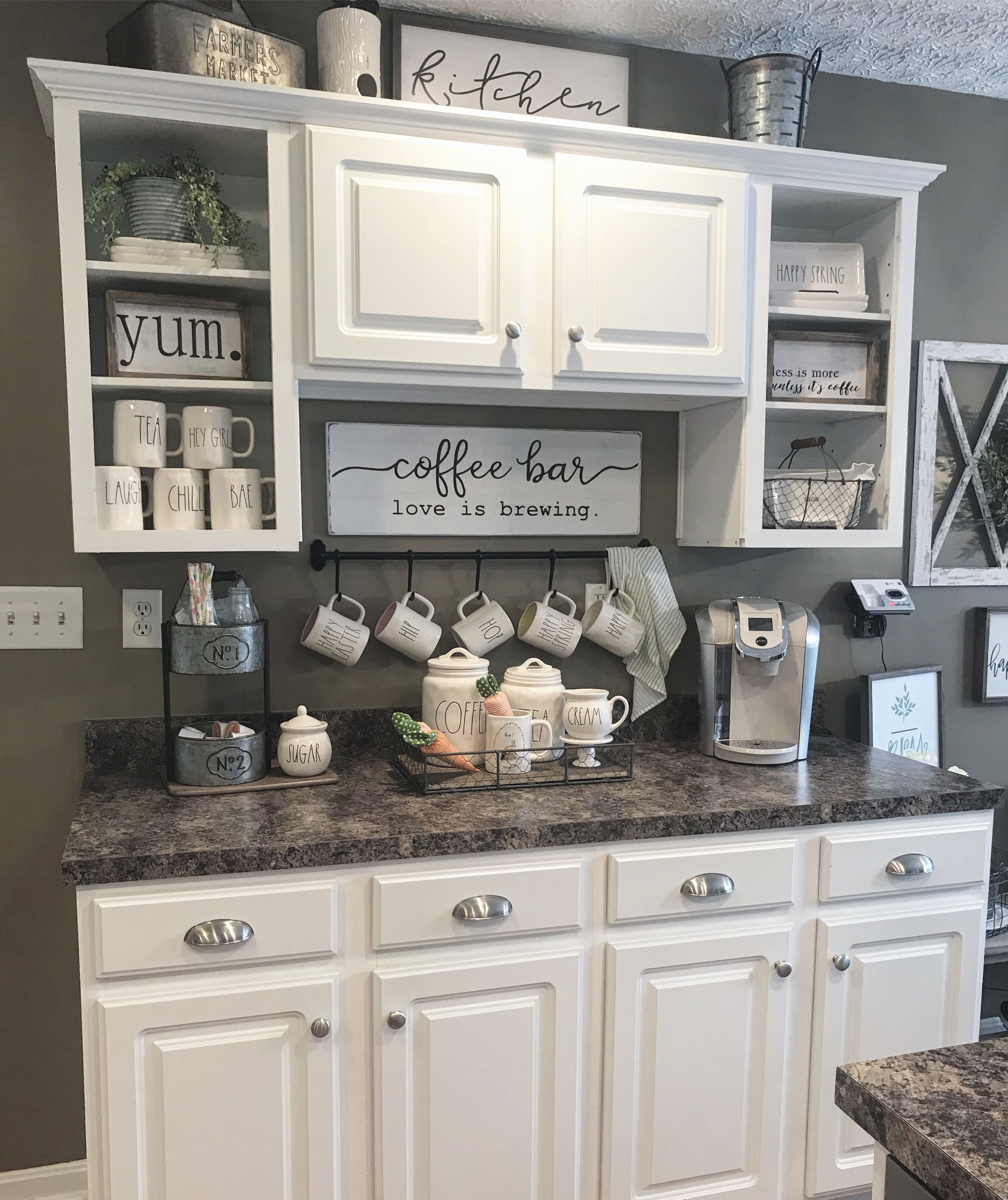 Rae Dunn coffee bar kitchen  Decor ideas  Caf bar en