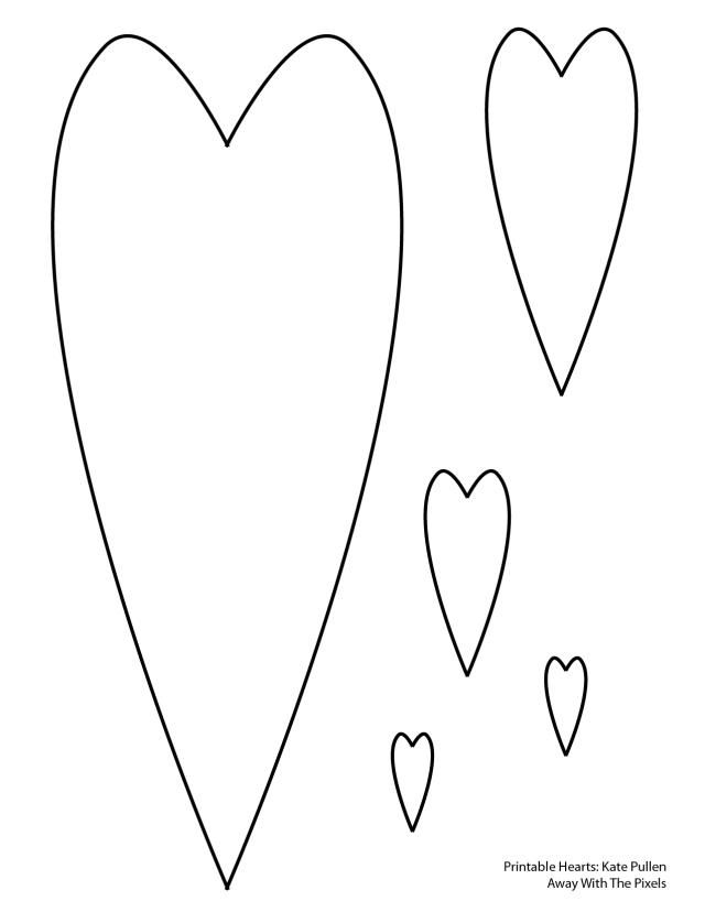 6 free printable heart templates templates pinterest heart