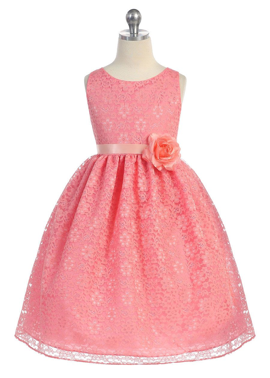 Girls Dress Style D749- CORAL Sleeveless Lace Dress with Ribbon Sash ...