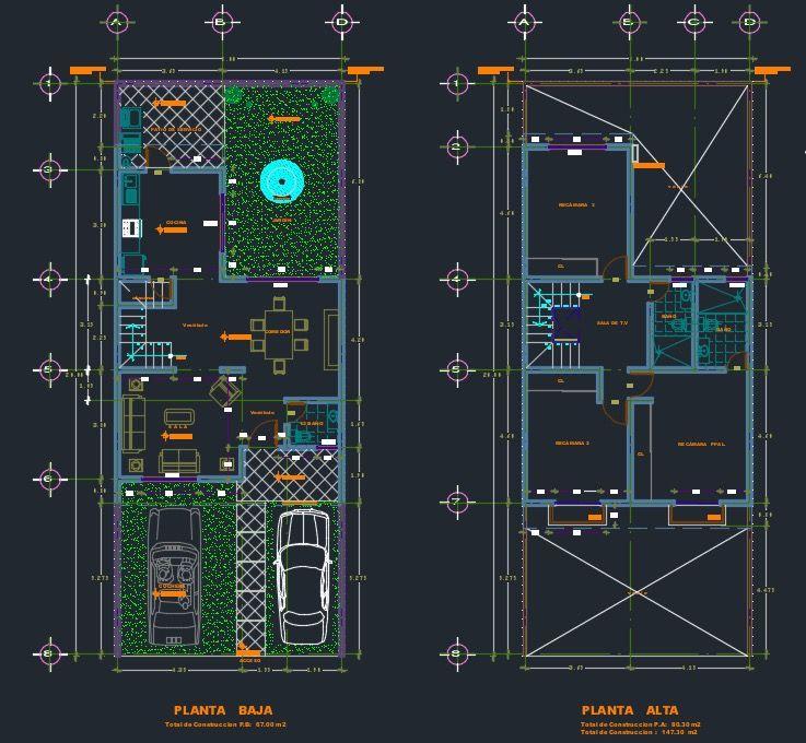 Plano De Casa Descargar Plantas Arquitectura Dwg Cad