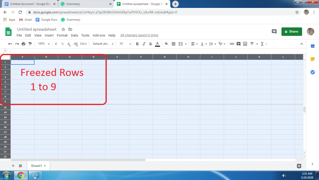 How To Freeze Row In Google Sheets Step By Step In 2020 Google Sheets Sheets Frozen