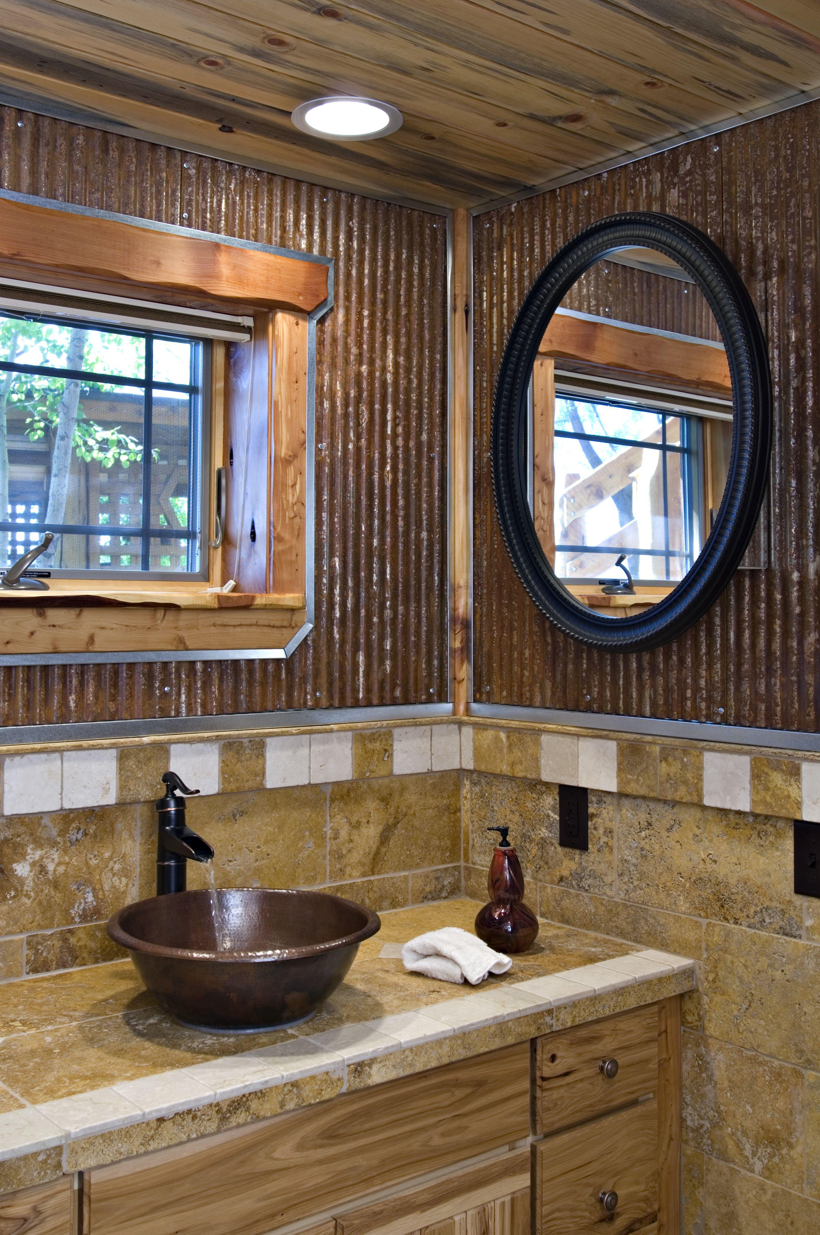 Corrugated Metal Bathroom Wall