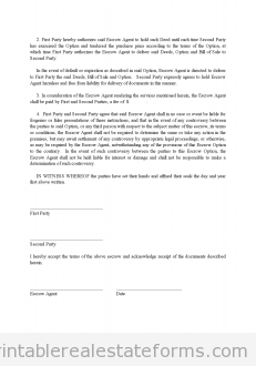 Free Escrow Agreement Printable Real Estate Forms  Printable Real