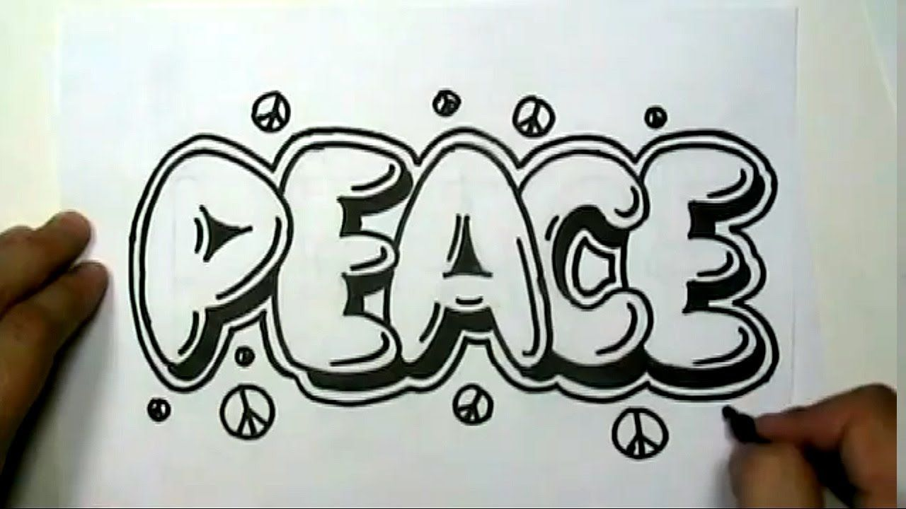 How to draw peace in graffiti letters write peace in bubble letters mat
