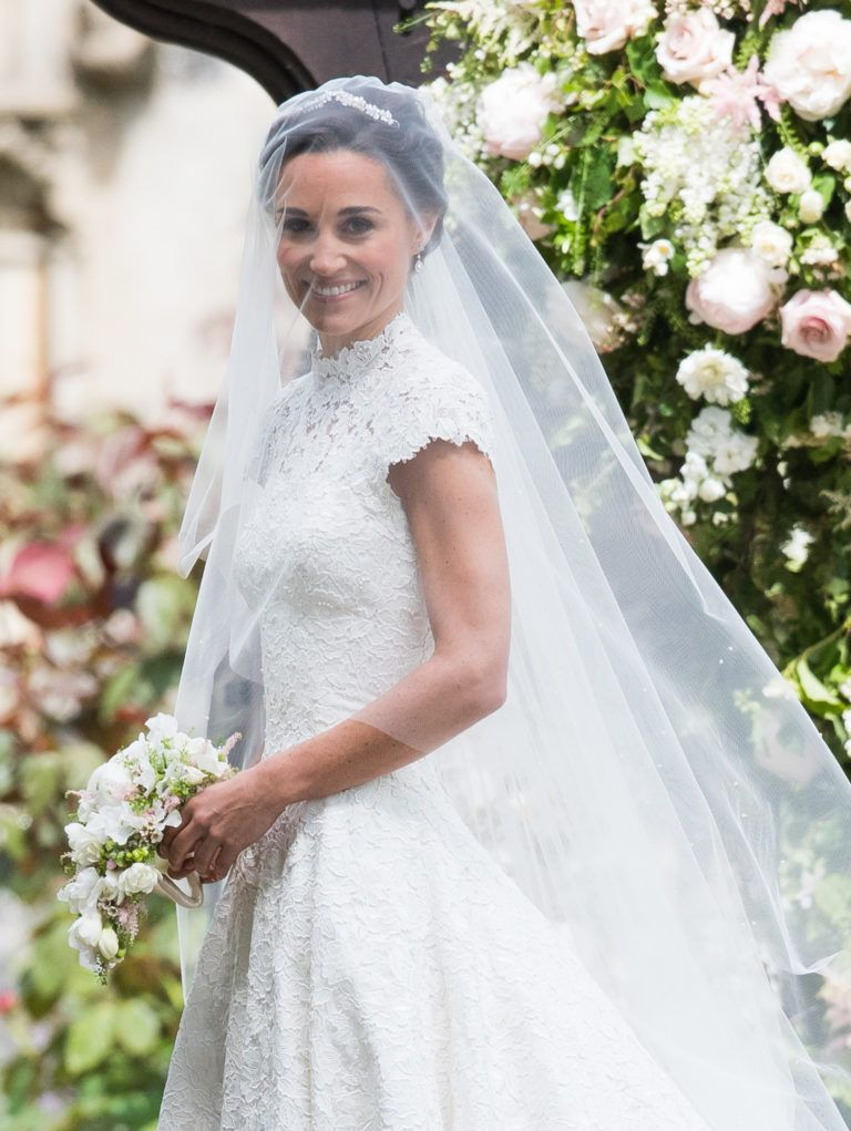 Flawless! Wearing an elegant Giles Deacon wedding gown, Pippa ...