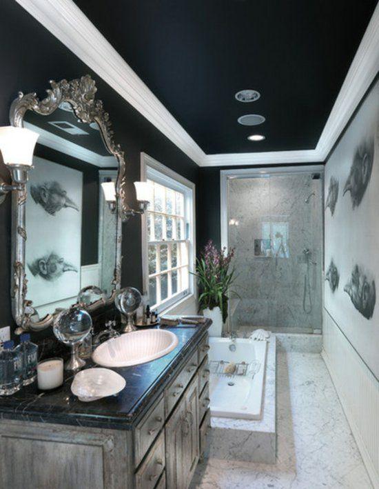 Фото натяжного черного потолка в ванной   Черный потолок ...