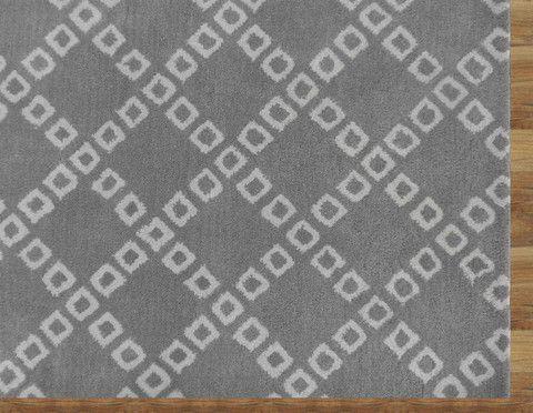 Lattice Squares Gray Contemporary Living Room Woolen Area Rug 8 x 10