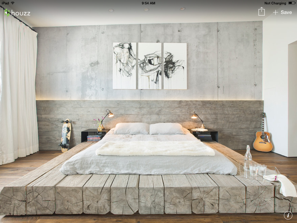 unique bed frames. bleached salvaged wood and concrete create a surprisingly serene backdrop for an industrial-style platform bed in santa barabara, california. unique frames