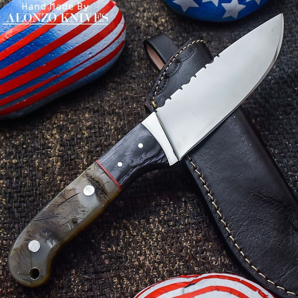 ALONZO KNIVES USA CUSTOM HANDMADE TACTICAL FIRE STARTER 1095 KNIFE RAM HORN 637 #AlonzoKnives